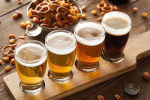 Assorted Beers in a Flight Ready for Tasting; Shutterstock ID 259774457